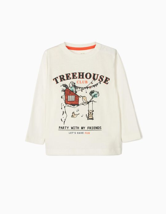 Long Sleeve Top for Baby Boys, 'Treehouse', White
