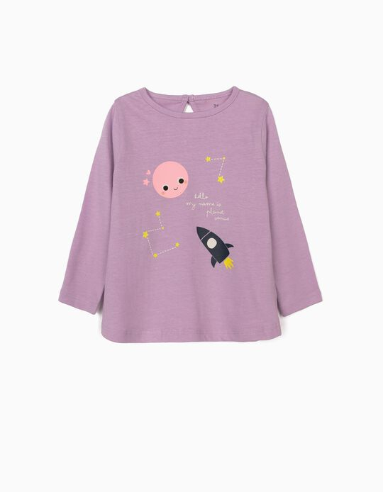 Long Sleeve Top for Baby Girls, 'Venus', Lilac