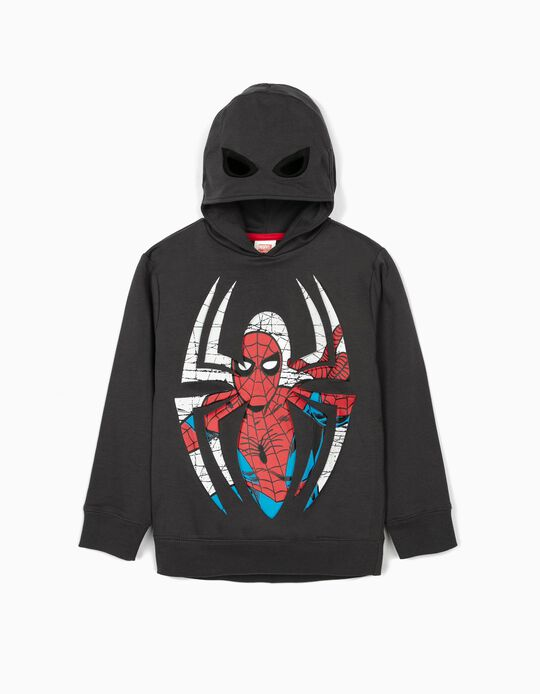 Sweatshirt com Capuz-Máscara para Menino 'Spider-Man', Cinza Escuro