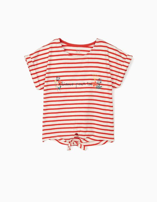 T-shirt with Knot on the Front, for Girls 'Bisou', White/Red