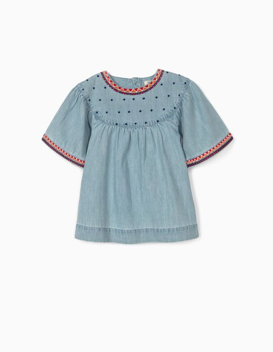 Denim Blouse with Embroideries for Girls, Blue