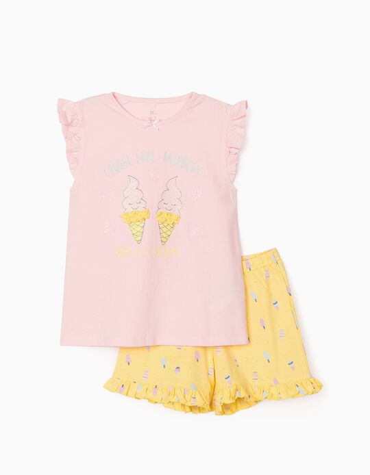 Pyjama fille 'Love, Rainbows and Ice Cream', rose/jaune