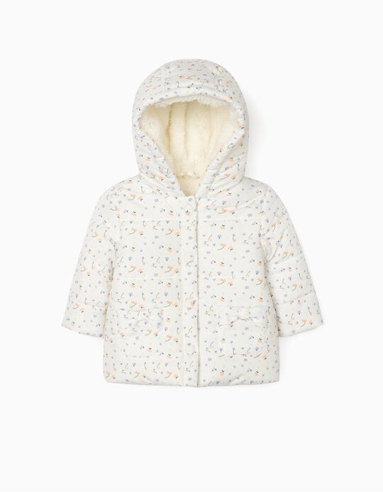 Blusão Acolchoado para Recém-Nascida 'Flowers', Branco