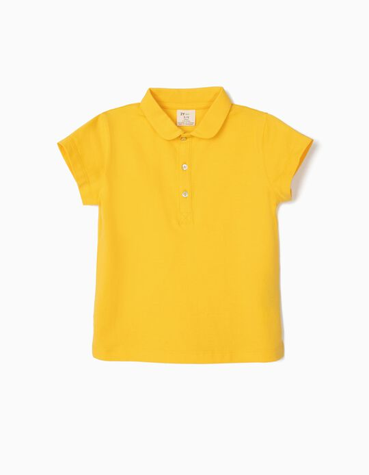 Short Sleeve Polo Shirt for Girls, Yellow
