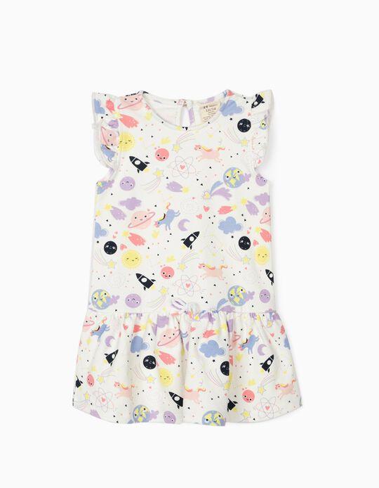 Dress for Baby Girls 'Solar System & Unicorns', White