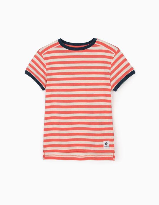Camiseta a Rayas para Niño, Coral/Blanco/Azul