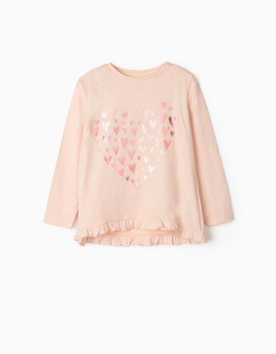 T-shirt Manga Comprida para Menina 'Hearts', Rosa
