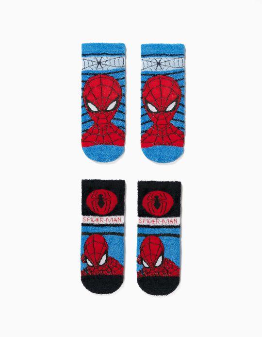 2 Pares Meias Antiderrapantes para Menino 'Spider-Man', Azul