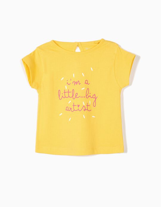 2 Camisetas para Bebé Niña 'Artist', Amarillo y Blanco