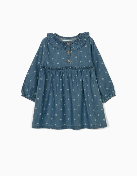 Denim Dress for Baby Girls 'Stars', Blue