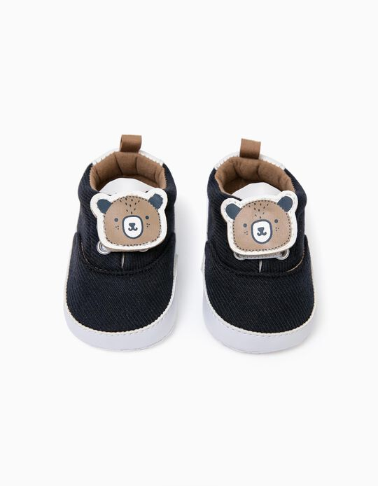 Sapatilhas Tecido para Recém-Nascido 'Baby Bear', Azul Escuro