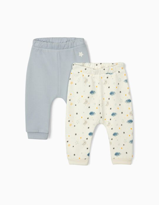 2 Trousers for Newborn Baby Boys 'Night Sky', White/Blue