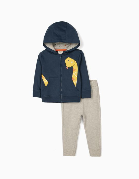 Tracksuit for Baby Boys, 'Snake' Grey/Blue