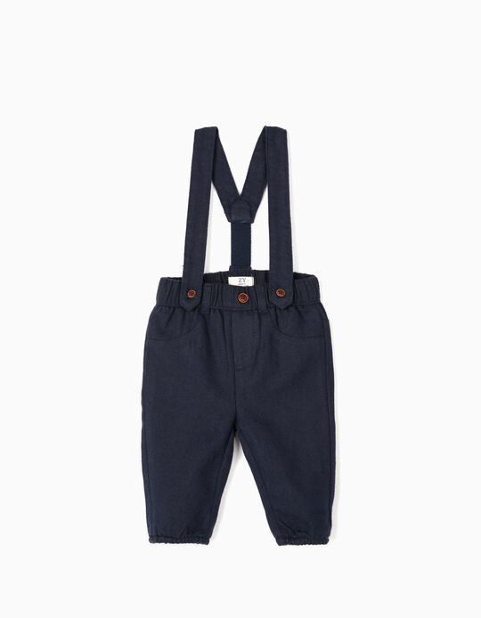 Trousers with Straps for Newborn Boys, Dark Blue