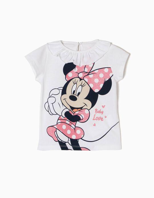 Camiseta para Bebé Niña 'Minnie' con Volante, Blanco