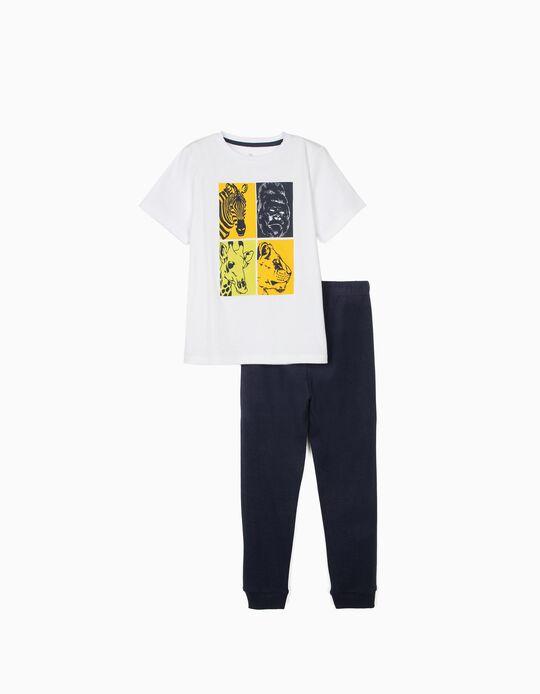 Pijama Manga Corta para Niño 'Animals', Blanco/Azul Oscuro