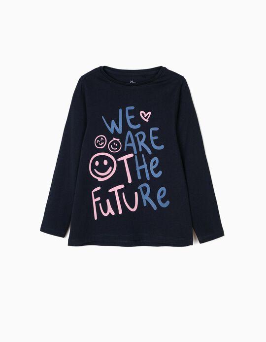 T-shirt Manga Comprida para Menina 'Future', Azul Escuro