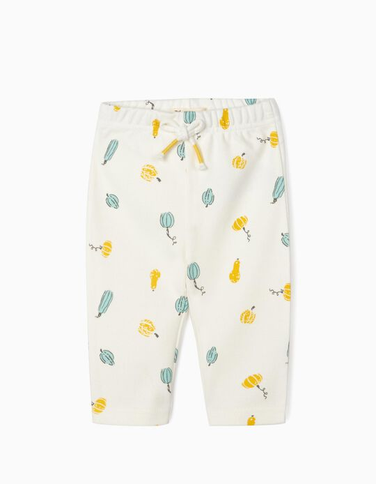 Organic Cotton Trousers for Newborn Baby Boys, White