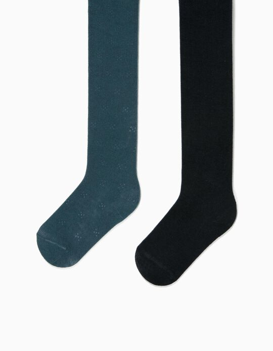 2 Pairs of Fine Knit Tights for Baby Girls, Dark Teal/Dark Blue