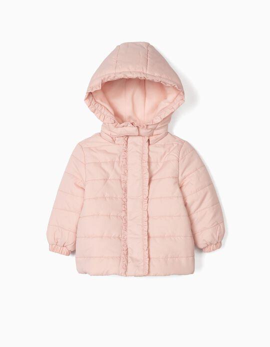 Blusão Acolchoado para Bebé Menina com Folhos, Rosa