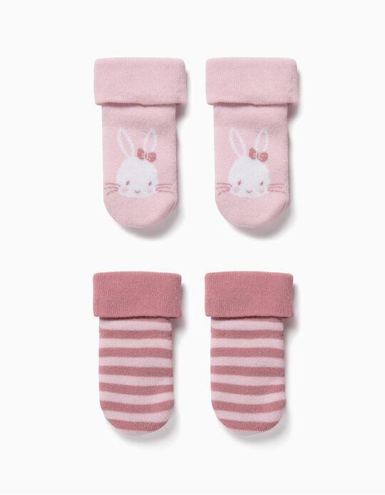 2 Calcetines Antideslizantes para Bebé Niña 'Cute Bunny', Rosa
