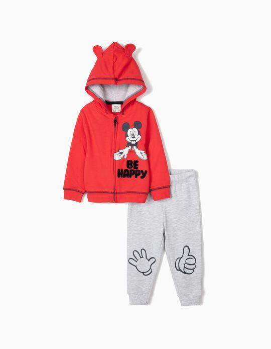 Chándal para Bebé Niño 'Mickey Be Happy', Rojo/Gris
