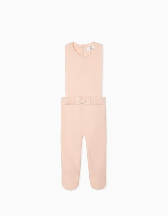 Footed Knit Jumpsuit for Newborn Baby Girls, Pink