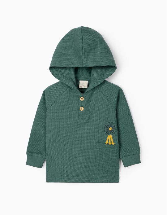 Sweatshirt Waffle com Capuz para Bebé Menino, Verde