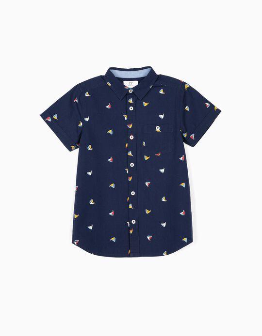 Camisa para Menino 'Boats', Azul Escuro