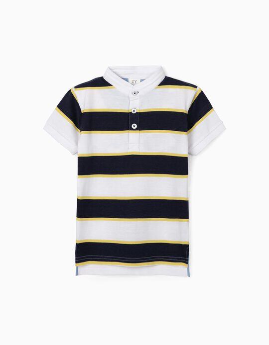 Striped Polo Shirt with Mao Collar, Multicolour
