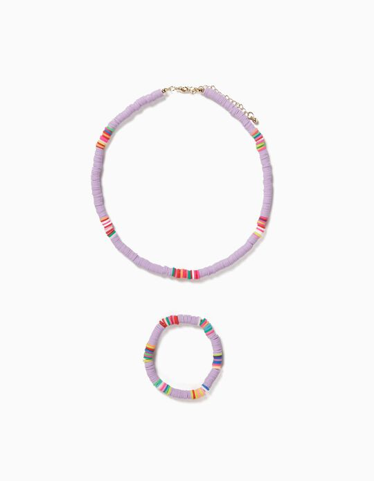 Bead Necklace & Bracelet for Girls, Lilac