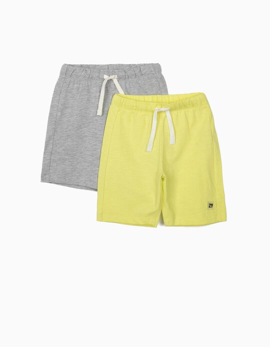 2 Jersey Knit Shorts for Boys, Grey/Lime Yellow