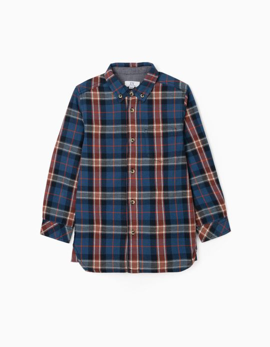 Chemise à Carreaux Garçon, Bleu/Rouge