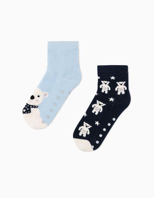 2 Pairs of Non-Slip Socks for Boys 'Winter', Blue