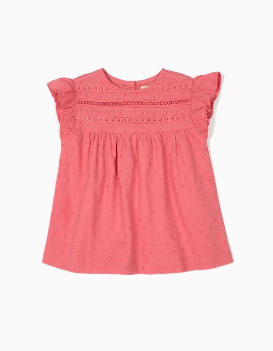 Blusa para Bebé Menina 'Swiss Dot', Rosa