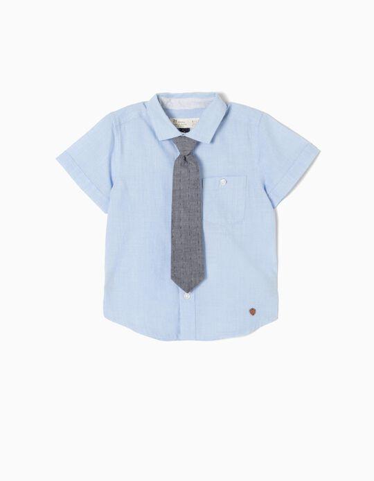 Camisa Manga Curta com Gravata para Bebé Menino, Azul