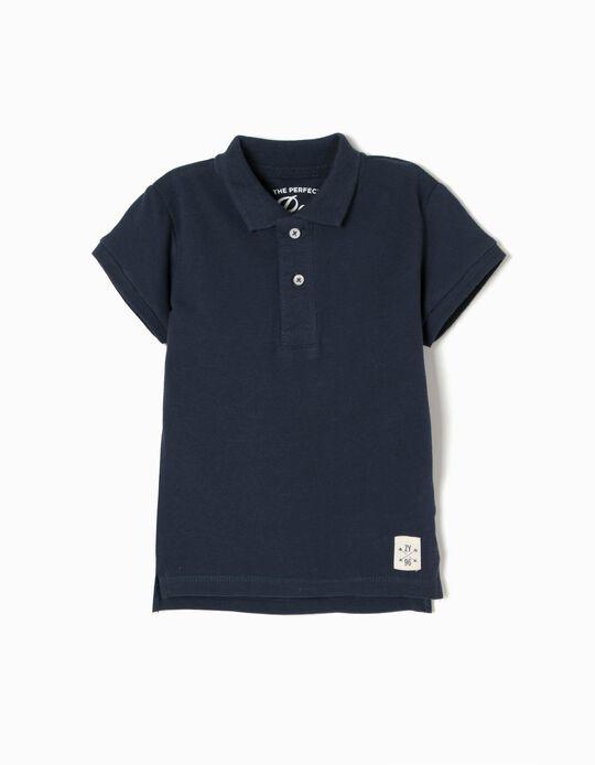 Short-sleeve Polo Shirt for Baby Boys, Dark Blue