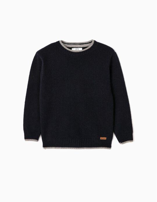 Wool Jumper for Boys, Dark Blue