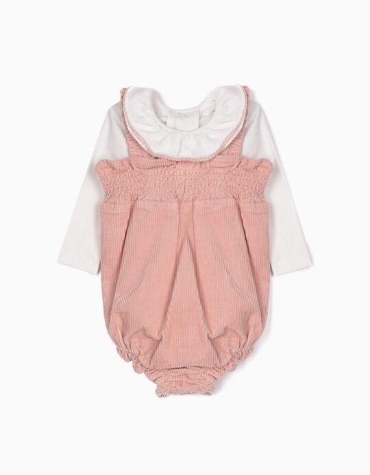 Romper and Bodysuit for Newborn Girls, Pink/White