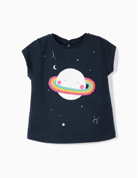 T-shirt para Bebé Menina 'Saturn', Azul Escuro