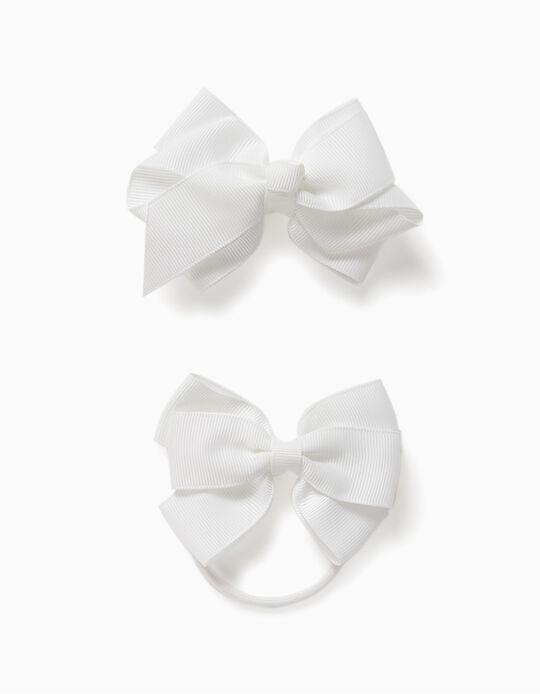 Pack Clip de Pelo + Goma para Niña 'Bows', Blanco