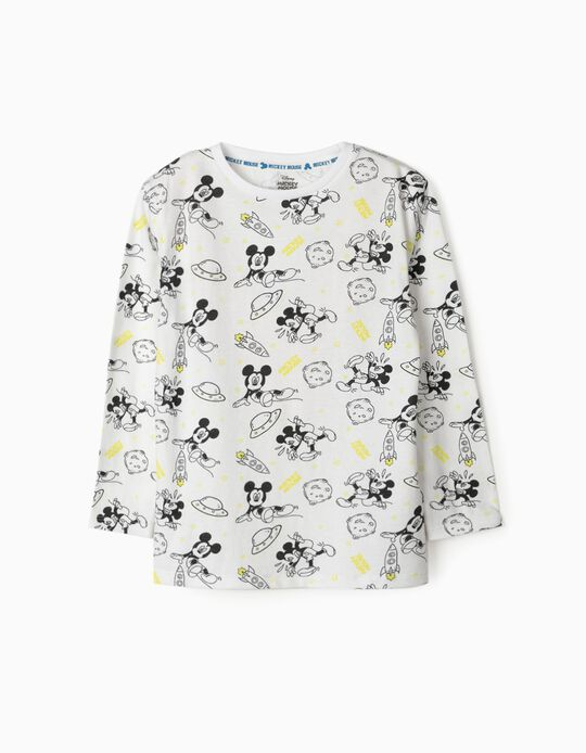 Camiseta de Manga Larga para Niño 'Mickey Space', Blanco