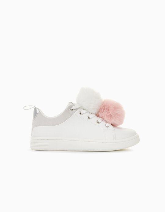 Zapatillas con Pompones para Niña '96 Sneaker', Blancas