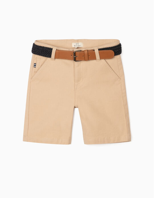 Dobby Shorts with Belt, for Boys, Beige