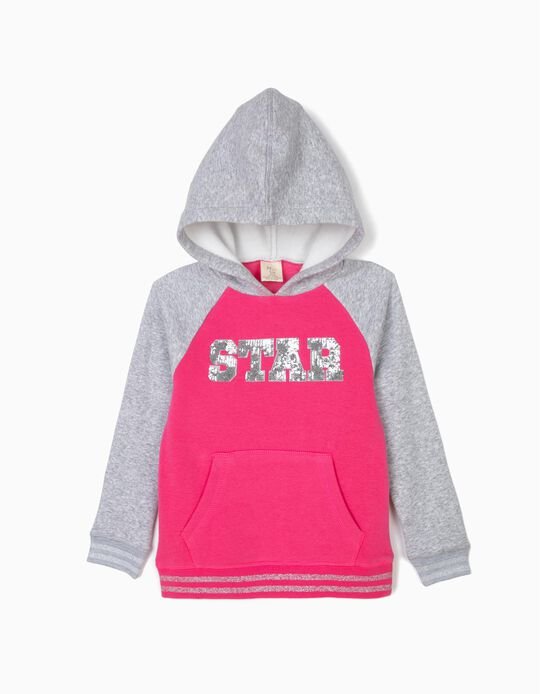 Sweatshirt com Capuz para Menina 'Star', Rosa e Cinza