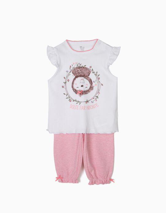 Pijama para Bebé Niña 'Dolce Far Niente Sloth', Blanco y Rosa