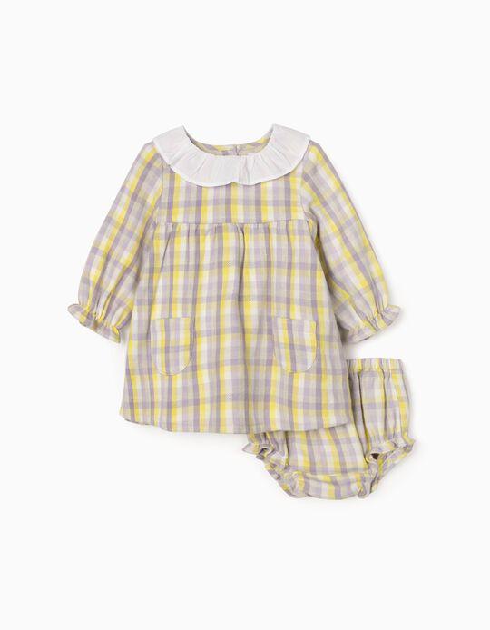 Vestido Axadrezado + Tapa-Fraldas para Bebé Menina, Lilás/Amarelo