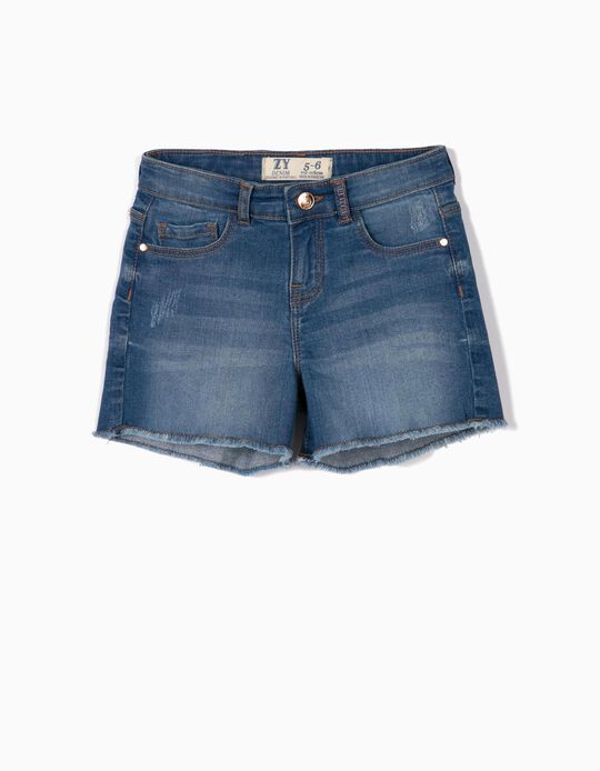 Denim Shorts with Frayed Hem for Girls, Blue