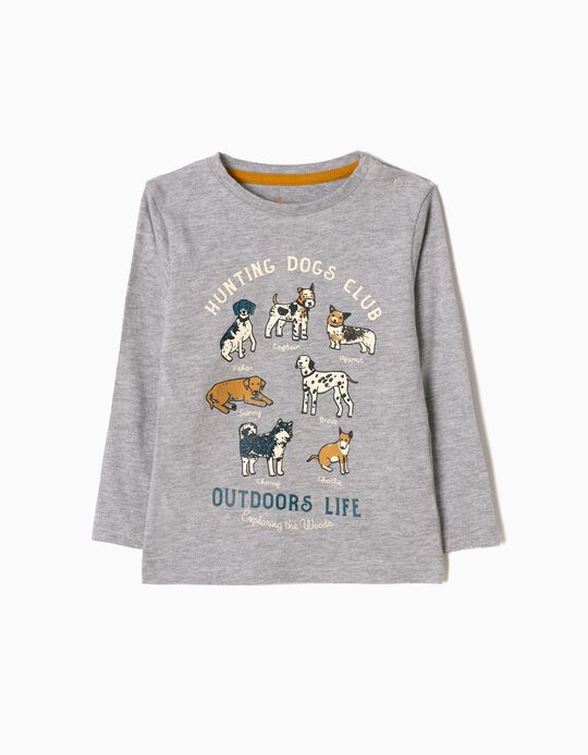 Camiseta de Manga Larga Dogs Gris