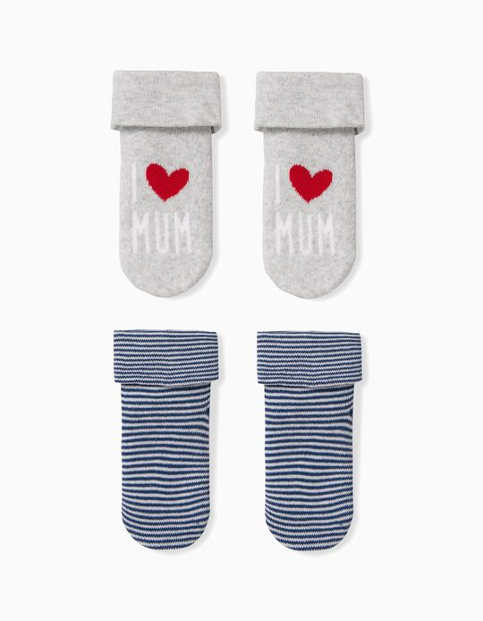 2 Pares de Calcetines para Bebé Niño 'Mum', Gris/Azul Oscuro